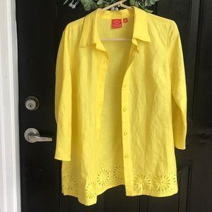 Bright yellow linen jacket by Oscar de la Renta